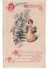 Birthday Greetings, Rhyme, Girl With Flowers, Rural Scene, Antique Postcard