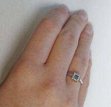 9ct White Gold Halo Engagement Ring with Princess Cut Blue Sapphire and Diamonds