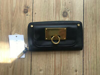Echtes Ladies Black Real Leather Purse Zip Round Wallet Quality Womens New