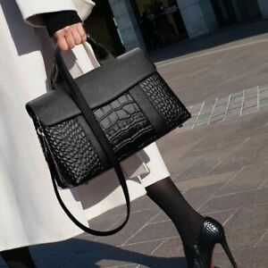 Luxurious New Women's Alligator Pattern Handbag Real Leather Shoulder Bag Tote