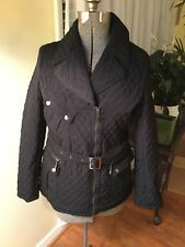 Blanc Noir Mini Quilted Jacket Size Large Multiple Zipper Pockets Polyester