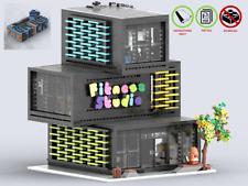LEGO MOC Corner Fitness Studio + Elevator CUSTOM Model - PDF Instructions Manual