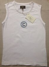 Calvin Klein Jeans Khakis Cream Ivory Tank T-Shirt Sleeveless Cotton Top S 8 10