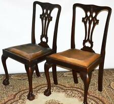 Set of 2 Antique Chippendale Mahogany Dining Chairs - FREE Shipping [PL3358]