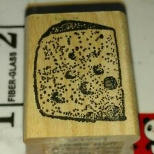 Swiss cheese wedge, neato stuff Co, C30,rubber,stamp, wood, Make Offers