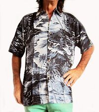 """Loud hawaiian chemise, Noir Avec Palmiers & navigue, L, 52 """", nuit, partie stag, nouveau"""