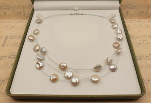 Vintage 925 Sterling Silver & Genuine Coin Pearl Triple Strand Necklace with Box