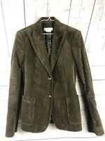 "Michael Kors Womens lined Two Button Blazer Olive sz 6 ""wooden"" buttons"