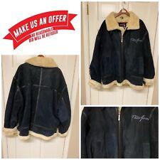 💎Vintage Men's Phat Farm💎Suede Leather Faux Shearling Jacket Blue Coat 4XL