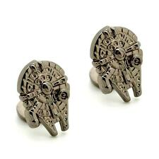 MILLENNIUM FALCON CUFFLINKS Star Wars Fan Gunmetal NEW w GIFT BAG Wedding Groom