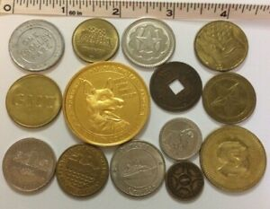 #1370 - LOT OF (14) TOKENS - MAY GOOD LUCK ALWAYS ACCOMPANY THE BEARER, ELEPHANT