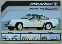 IRMSCHER OPEL MANTA Sales Brochure c1981 GERMAN TEXT