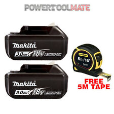 Genuine Makita BL1830 18V 3.0Ah Li-Ion Battery (Twin Pack) & STA130696 5m Tape
