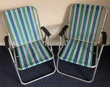 X2 Vintage Retro Stripe Folding Garden Deck Chair Camping VW Pair 60s 70s #2