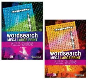 2 x Modern Word Search A4 Mega Large Print Books Brain Puzzle + Solutions