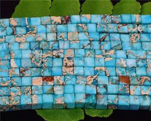 BR4644 8pcs 4x4x4mm Beautiful Aqua Blue Sea Sediment Jasper Cube Pendant Bead