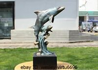 Western Bronze Marble Painting Two Dolphin Dolphins Statue Art Deco Sculpture N8