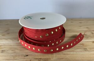 Thick Red & gold dot Christmas Ribbon craft cards bows  SOLD PER METER Gift UK
