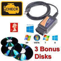 ELM327 Interface USB Cable OBD2 + 3 BONUS Diagnostic Software for Vauxhall Opel