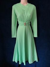 60's 70's Vintage Mint Green Rhinestone Disco Goddess Long Formal Sweep Dress 16