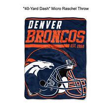 "NFL Denver Broncos 40-Yard Dash Micro Raschel Throw Blanket 40"" x 60"""