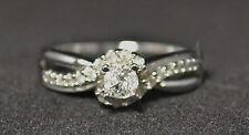 #4222 - Size 8 - 10K White Gold & Diamond Ring - ZEI