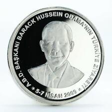 Turkey 50 lira Visit of Barack Obama silver coin 2009