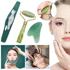 3pcs/set Quartz Jade Roller GuaSha Board Face Slimming Bandage Facial Massager!