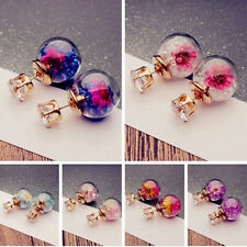 1Pair Fashion Women Lady Elegant Flower Rhinestone Glass Ear Stud Earrings