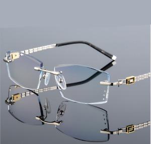 Luxury Rimless Cutting lenses Eyeglasses Diamond Gradient Glasses Frames Eyewear