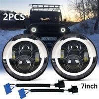 "Pair 7"" Inch Round LED Headlights Halo Angle Eyes For Jeep Wrangler JK LJ TJ CJ"