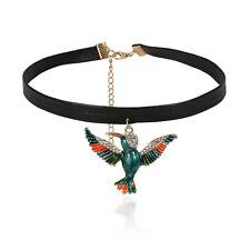 Cute Crystal Enamel Bird Parrot Pendant Choker Collar Necklace Animal Necklace
