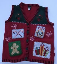 ugly christmas sweater vest holiday editions Small Gingerbread Man Ornament Xmas