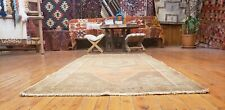 Exquisite Vintage 1960's Wool Pile Saffron Natural Dye Oushak Runner Rug 3x6ft
