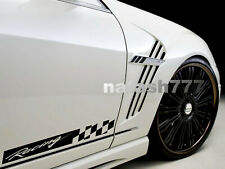 Racing Stripe Checkered Decal Sticker Performance Sport Car Truck Emblem 2-pcs