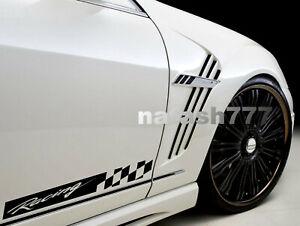 Racing Stripe Checkered Decal Sticker Performance Sport Car Truck Emblem 2-pcs