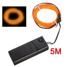 Orange EL flexible Draht Neonlicht 5M Tanzparty Dekor + Steuerung O2H4 O6N2