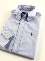 Ralph Lauren Shirt Women's Harper Oxford Powder Blue Custom Fit Long Sleeve