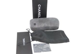 Chanel Sunglasses Eyeglasses  Set Gray Saved Suede Case Cloth Box booklet