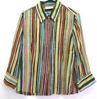 Dana Buchman Women's Size 14 Spring Summer 3/4 Sleeve 100% Silk Blouse Shirt