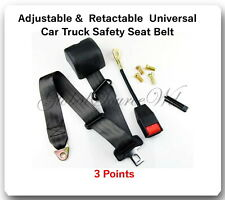1 Kit Universal Strap Retractable & Adjustable Safety Seat Belt Black 3 Point