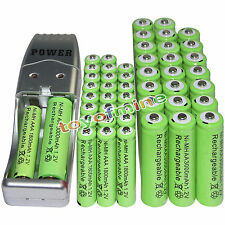 24 AA 3000mAh+ 24 AAA 1800mAh 1.2V NI-MH green Rechargeable Battery +USB Charger