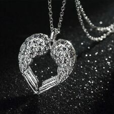 Jewelry Fashion Unique Silver Plated Heart Pendant Angel Wings Necklace Women