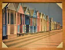 67 x 57 cm Wood Framed Canvas Picture Of Coloured Southwold Beach Changing Huts