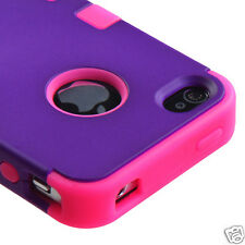 APPLE iPHONE 4 4S MULTI LAYER TUFF HYBRID CASE ACCESSORY PURPLE/PINK