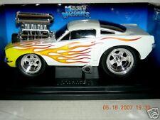 MUSCLE MACHINE 1:18 66 MUSTANG WHITE W/FLAMES RARE MIB.