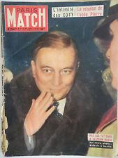 Paris Match n°254- 1954 - L'intimité des Coty - Mission de l'Abbé Pierre
