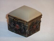 Chinese Nephrite Jade Cover Cloisonne Square Trinket Box