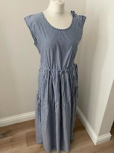 Lovely womens striped cotton sleeveless maxi dress from Bellerose, size 3 (14)