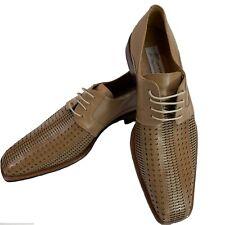 Mezlan Ansel Die Cut Lattice Brogue Oxford Leather Mens Dress Shoes SZ 13 M Tan
